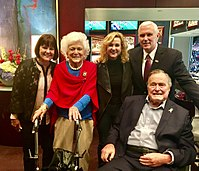 The Bushes with Vice President Mike Pence and family, wife Karen and daughter Charlotte, at Super Bowl LI in 2017