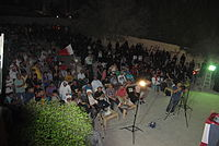 A number of people held a sit-in in solidarity with human rights activist Nabeel Rajab