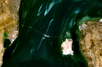 The King Fahd Causeway as seen from space