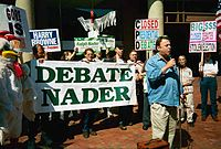 Nader's supporters, with Christopher Hitchens speaking, protest his exclusion from the televised debates in 2000