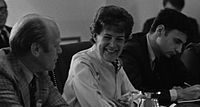Nader, far right, at a meeting with Sylvia Porter and U.S. president Gerald Ford in 1974.