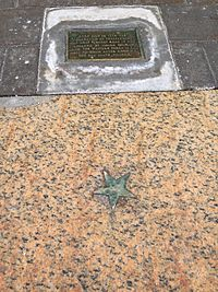 The Star on the Sidewalk indicates the spot of the first reading in New England of the Declaration of Independence in 1776.