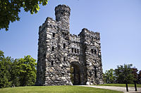 Bancroft Tower stands atop Bancroft Hill and was erected in 1900 by Stephen Salisbury III in honor of his childhood friendship with George Bancroft.