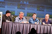 Kevin Feige, Joe Johnston, Chris Evans, and Hugo Weaving at the 2010 San Diego Comic-Con