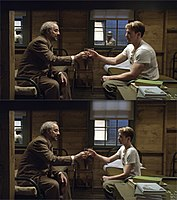 Evans as pre-serum Steve Rogers before (top) and after (bottom) he was visually reduced