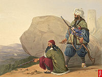 Afghan tribesmen in 1841, painted by British officer James Rattray