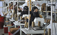 Afghan women at a textile factory in Kabul