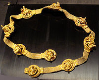 """A """"Bactrian gold"""" Scythian belt depicing Dionysus, from Tillya Tepe in the ancient region of Bactria"""