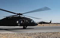 Black Hawks of the Afghan Air Force at Kandahar Airfield. As a major non-NATO ally, the Afghan Armed Forces receive most of their equipment and training from the United States.