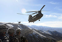 U.S. troops and Air Force choppers in Afghanistan, 2008