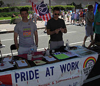 Pride at Work members distribute literature and educate the public about union organizing campaigns affecting LGBTQ workers at the Capital Pride street festival in Washington, D.C., on June 14, 2009.