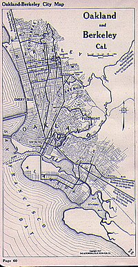 Map of Oakland and Berkeley area in 1917