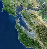 Satellite map of the San Francisco Bay Area from the U.S. Geological Survey