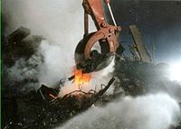 Excavating equipment was cooled by water spray due to concerns about melting from underground fires.