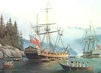 A painting of ships used in George Vancouver's exploration of the west coast of North America in his 1791–1795 expedition