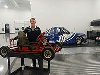 Hemric stands with his first go-kart at the Brad Keselowski Racing shop in Statesville, NC