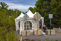 Tents set up on the Canadian side of border between Quebec and New York in 2017 to process asylum applicants entering Canada irregularly.