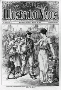 """Come to Stay, printed in 1880 in the Canadian Illustrated News, which refers to immigration to the """"Dominion""""."""