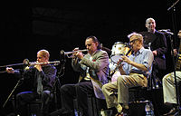 Allen with Jerry Zigmont and Simon Wettenhall performing at Vienne Jazz Festival, Vienne, France, September 20, 2003