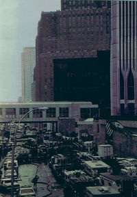 Image of the procession of rescue vehicles responding to the 1993 World Trade Center bombing. One World Trade Center is on the far right of the frame.