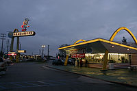 The oldest operating McDonald's restaurant is the third one built, opened in 1953. It is located at 10207 Lakewood Blvd. at Florence Ave. in Downey, California (at 33.9471°N, -118.1182°W)