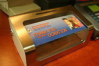 A Ronald McDonald House collection box in Framingham, Massachusetts