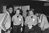 Rijkaard (left), with Ronald Koeman (third from right), Erwin Koeman (second from right) and Ruud Gullit (right) in the Dutch national team in 1983