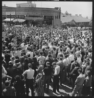 Berkeley students participate in a one-day peace strike opposing U.S. involvement in World War II on April 19, 1940