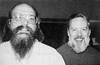 Turing Award laureate Ken Thompson (left), BS 1965, MS 1966, and fellow laureate and colleague Dennis Ritchie (right), created Unix together