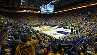 The interior of Haas Pavilion during a basketball game