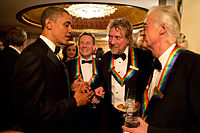 Page (right) with the other surviving members of Led Zeppelin, with U.S. President Barack Obama at the 2012 Kennedy Center Honors