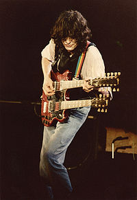 Page frequently played a double-necked Gibson EDS-1275 in concert, as seen here in 1983