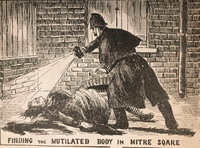 A policeman discovering the body of prostitute Catherine Eddowes, one of Jack the Ripper's victims