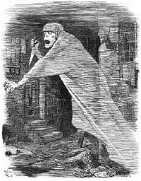 The 'Nemesis of Neglect': Jack the Ripper depicted as a phantom stalking Whitechapel, and as an embodiment of social neglect, in a Punch cartoon of 1888.