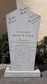 Monument in front of Surf Ballroom in Clear Lake, Iowa