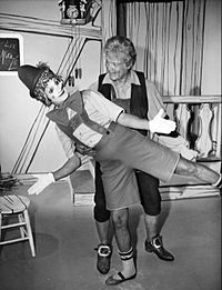 Skelton performing with Marcel Marceau, 1965; the two were friends for many years.