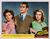 """Skelton with Ann Rutherford and Virginia Grey as radio detective """"The Fox"""" in Whistling in the Dark (1941)"""