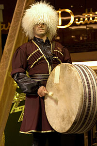 Traditional Azerbaijani clothing and musical instruments
