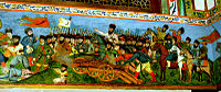 A miniature painting of a battle scene on the walls of the Palace of Shaki Khans, 18th century, city of Shaki