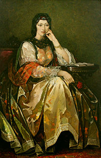 Painting of Khurshidbanu Natavan, one of the most distinguished Azerbaijani poets. She was also the daughter of the last ruler of the Karabakh Khanate.