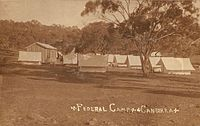 The Federal Capital survey camp was established c. 1909. An extensive survey of the ACT was completed by Charles Scrivener and his team in 1915.
