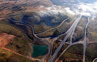 Aerial view of Tuggeranong Parkway, a major highway which links Canberra's city centre with Tuggeranong.