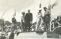 The ceremony for the naming of Canberra, 12 March 1913. Prime Minister Andrew Fisher is standing, centre, in dark suit. To his right is the Governor-General, Lord Denman, and to his left, Lady Denman.