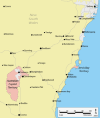 Location of the ACT and Jervis Bay