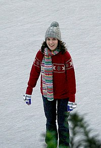 """Fey filming the episode """"Ludachristmas"""" of 30 Rock at Rockefeller Center in October 2007"""