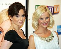 Fey (left) with Amy Poehler (right) at the premiere of Baby Mama in New York, April 23, 2008