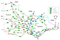 Victorian cities, towns, settlements and road network