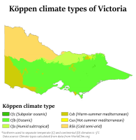 Köppen climate types in Victoria