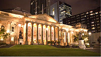 The State Library of Victoria forecourt