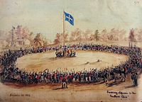 Swearing Allegiance to the Southern Cross at the Eureka Stockade on 1 December 1854 – watercolour by Charles Doudiet